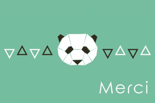 carte de remerciement panda, carte de remerciements panda, carte merci originale, carte de remerciement originale