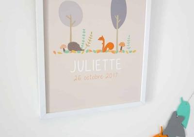 affiche avec dessin automne ecureuil hérisson