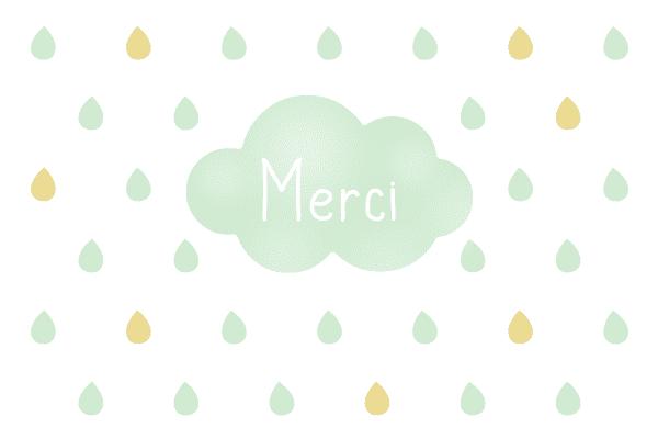 carte de remerciement nuage, carte de remerciements nuage, carte merci gouttes, carte de remerciement originale, carte personnalisable