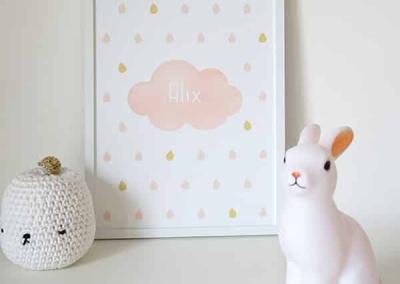 affiche nuage, affiche bébé, affiche enfant, affiche chambre bébé, affiche chambre enfant, affiche originale, affiche personnalisable