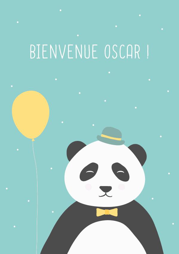 affiche panda, affiche chambre bébé, affiche a4 panda, affiche personnalisable
