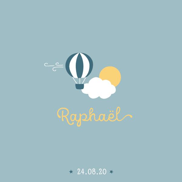 faire-part naissance été pour garçon avec montgolfière, nuage et soleil