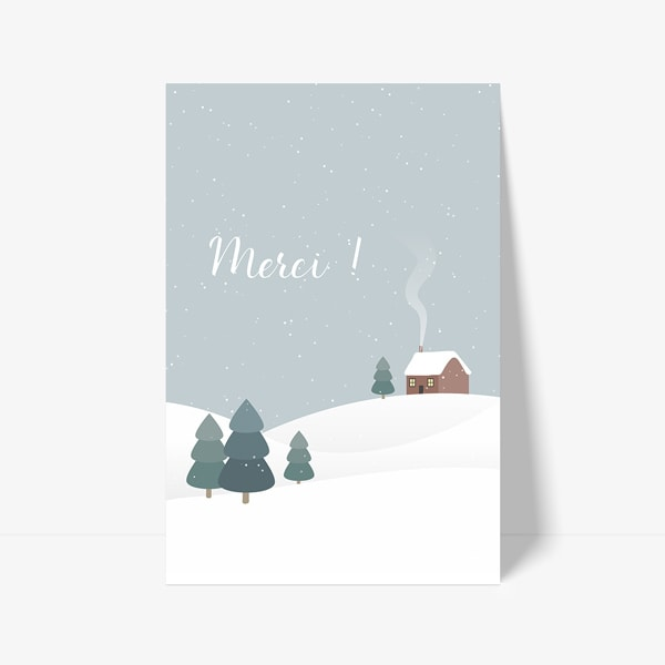 carte de remerciement dessin hiver