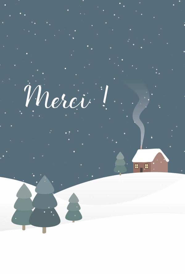 merci hiver avec sapin et neige