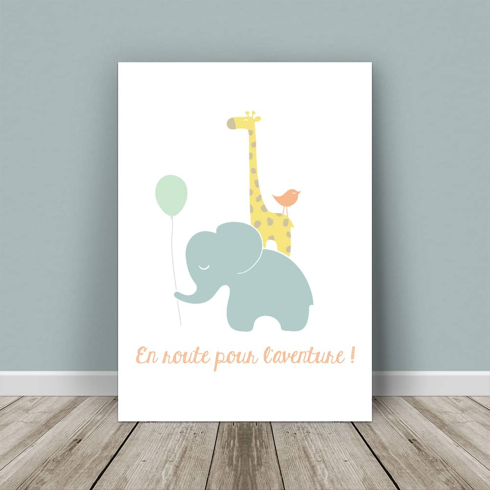 affiche éléphant, affiche girafe, affiche bébé, affiche enfant, affiche chambre bébé, affiche chambre enfant, affiche originale, affiche personnalisable