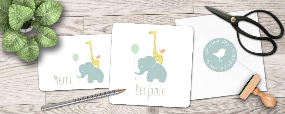 faire part naissance original, éléphant, girafe, animaux, tendance, garçon, fille