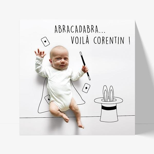 faire part de naissance avec bébé magicien au trait noir