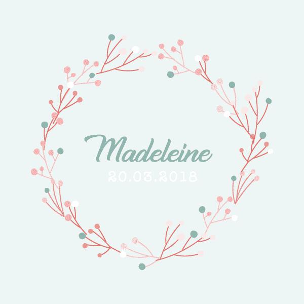 faire-part naissance couronne fleur madeleine