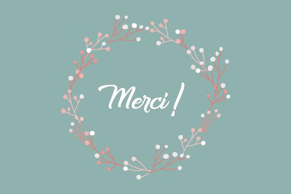 carte de remerciements naissance couronne fleur