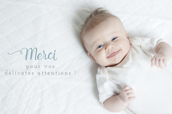 carte de remerciements photo garçon bleu