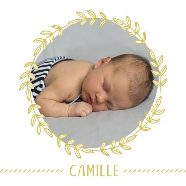 faire part naissance, faire-part naissance, photo, couronne, jaune