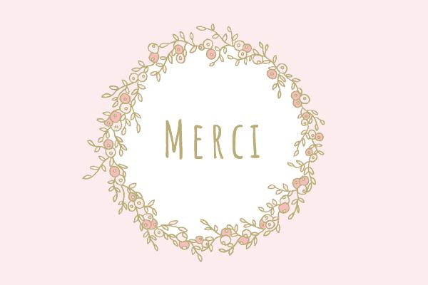 carte de remerciement couronne, rose