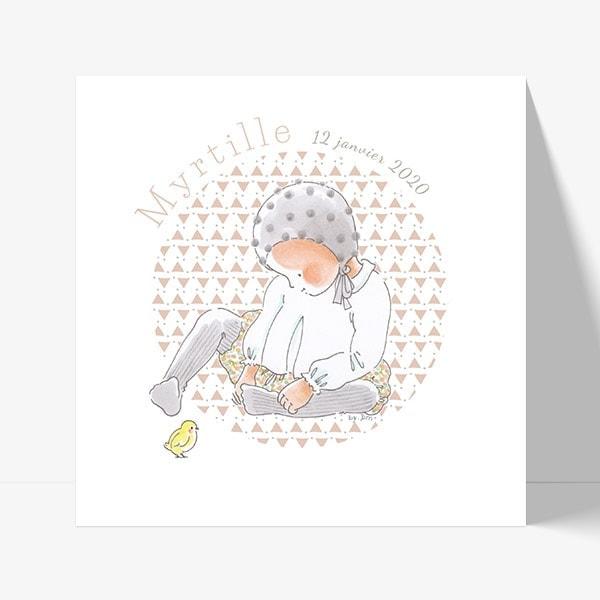 faire part de naissance avec dessin de bébé par by bm