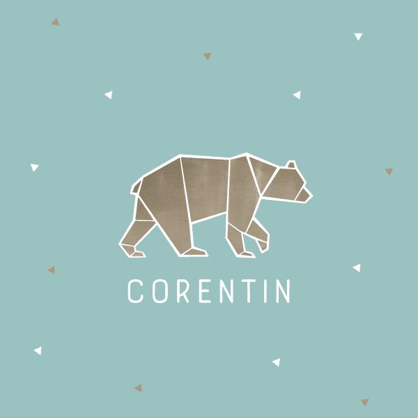 faire part naissance ours, origami, garçon, original, tendance