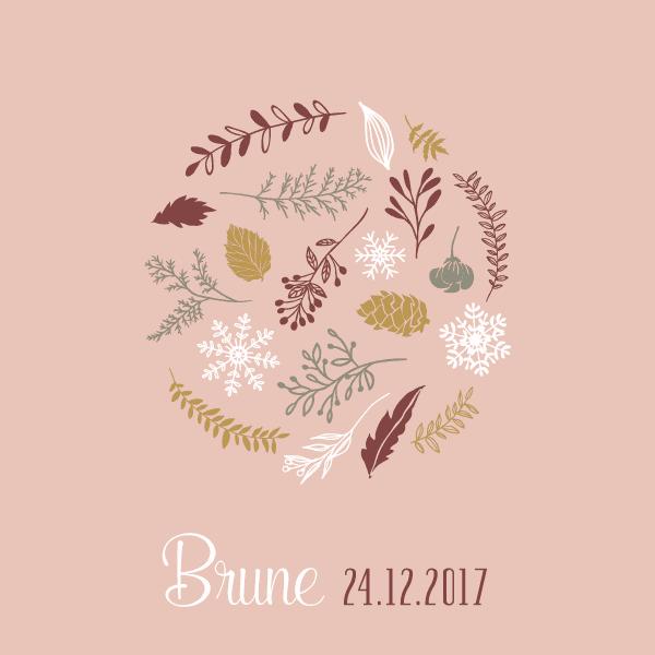 faire part naissance hiver fleur dessin illustration rose