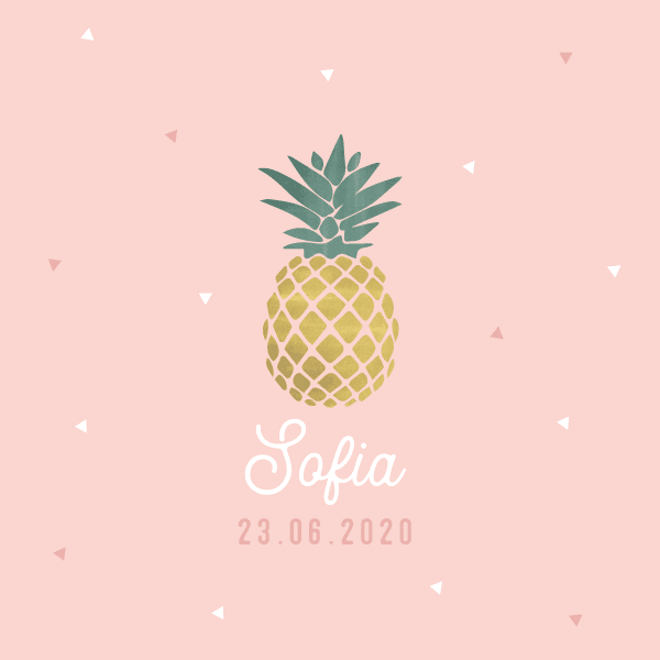 faire part naissance ananas rose fille tropical
