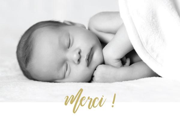 carte merci photo bébé naissance remerciements