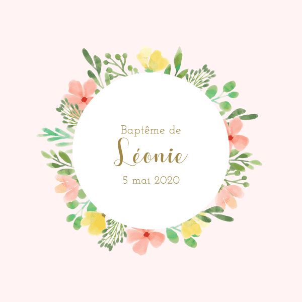 faire part baptême original avec fleurs printemps aquarelle
