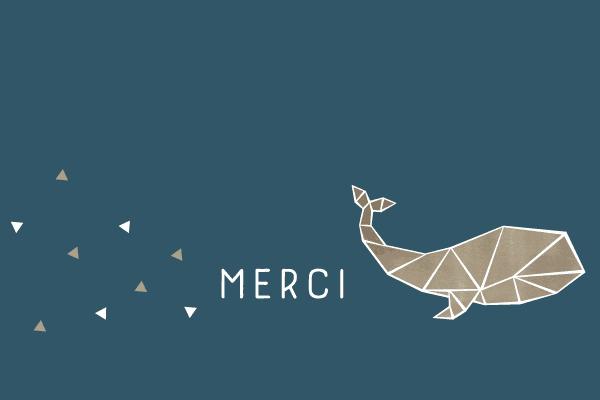 Carte de remerciements baleine, origami, bleu marine, marin, mer