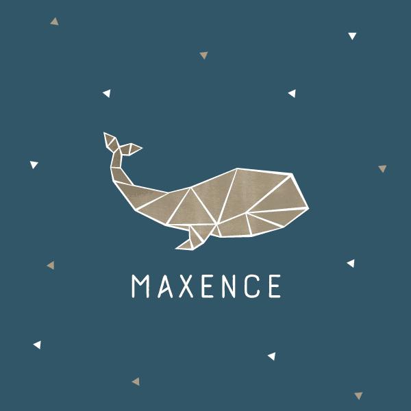 faire part naissance baleine, origami, mer, marin, bleu