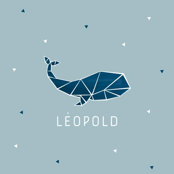 Faire part naissance baleine, origami, beu, mer, léopold