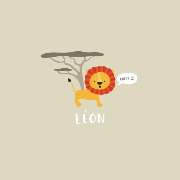 faire part naissance lion gris clair