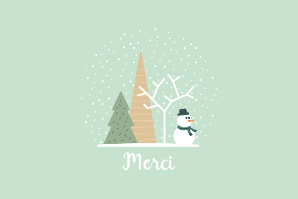 carte de remerciements boule à neige et bonhomme de neige pour garçon