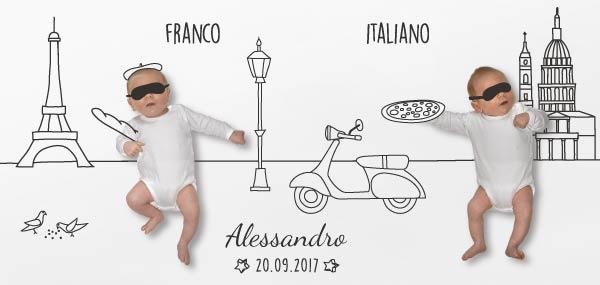 photo et dessin sur carte de naissance pour bébé italien