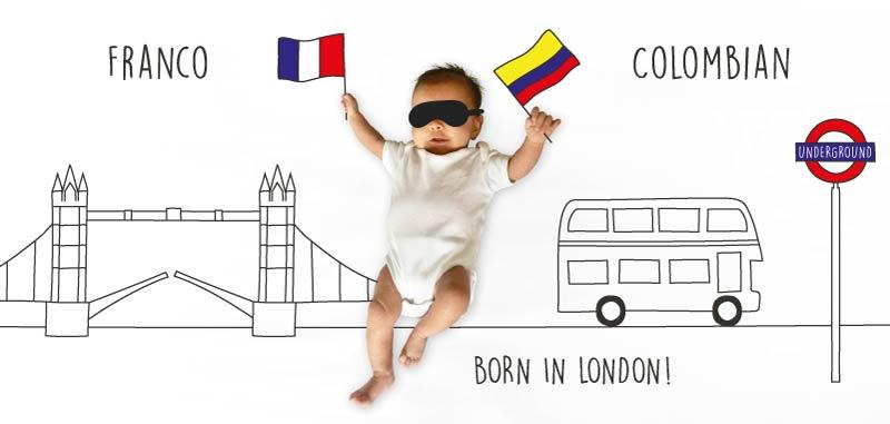 un bébé à londres en carte de naissance