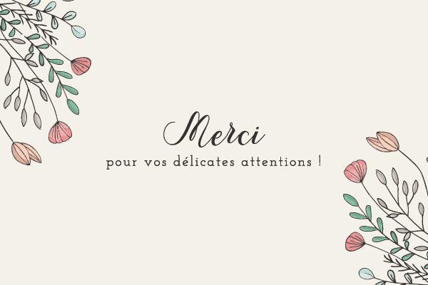 Jolie carte pour dire merci avec des fleurs