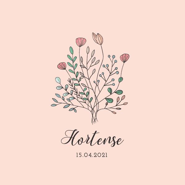 faire-part de naissance original rose dessin fleurs