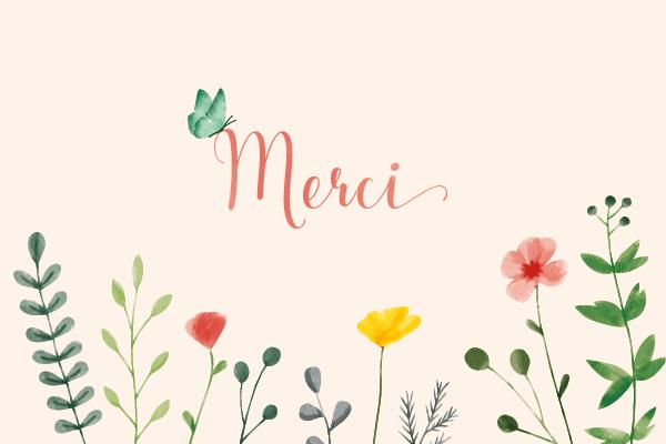 carte de remerciements fleur graphique dessin