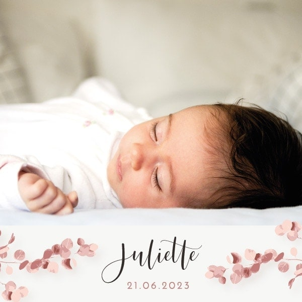faire-part naissance photo rose fleur fille