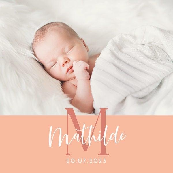 faire-part naissance design fille avec photo