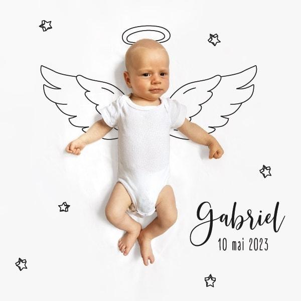 faire part naisance ange avec photo et dessin ailes et auréole