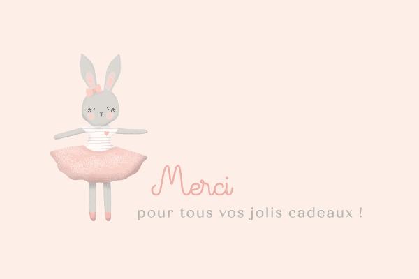 carte de remerciement avec illustration de lapin en tutu version rose