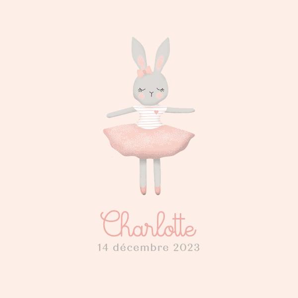faire part naissance pour fille rose avec un dessin de lapin en tutu