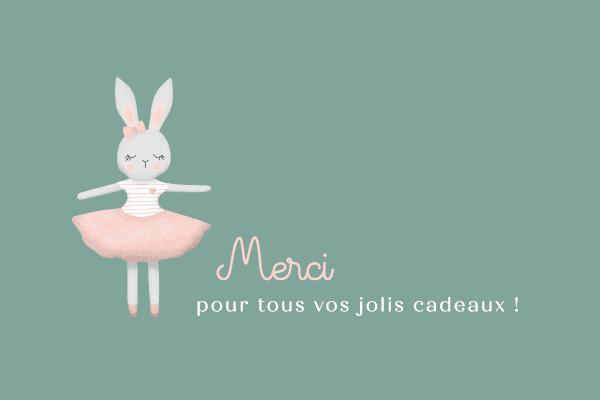 carton de remerciement dessin de lapin danseuse