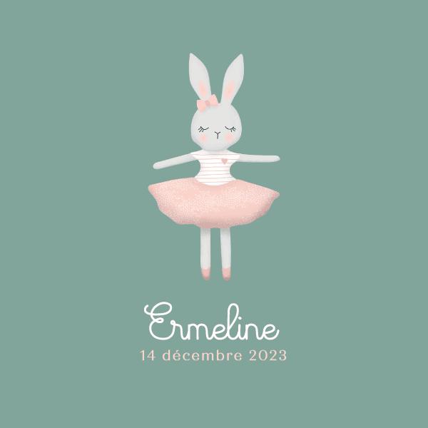 faire part naissance pour fille avec illustration lapin en tutu