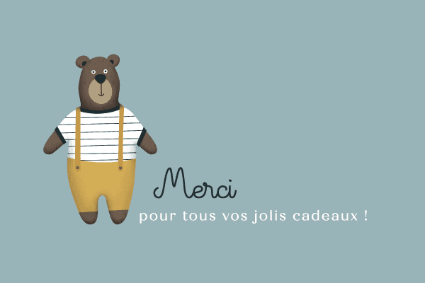 remerciement pour naissance dessin ours