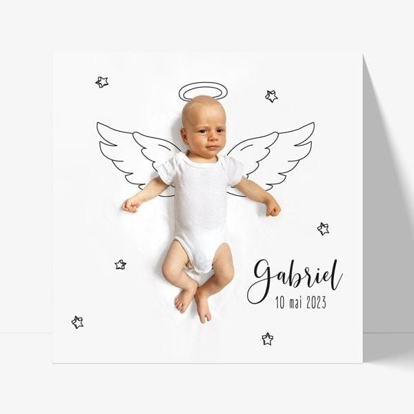 faire-part naissance ange moderne avec photo