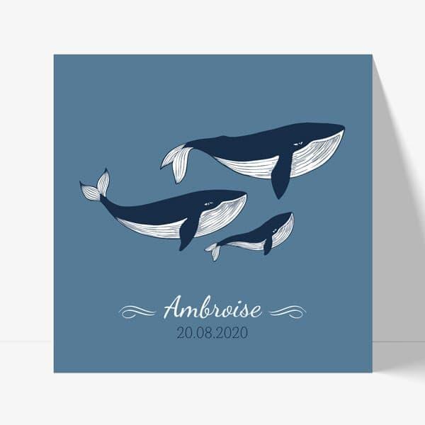 faire part naissance avec une famille de baleines