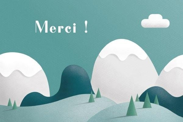 dessin de montagnes sur carton de remerciements