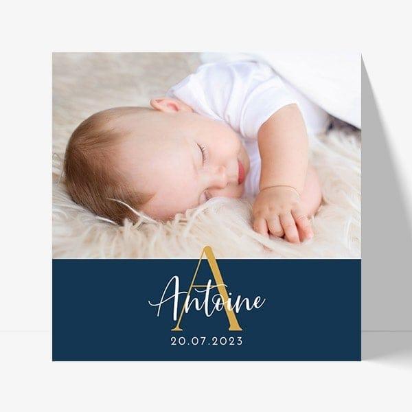 joli faire-part de naissance avec une photo et le prénom