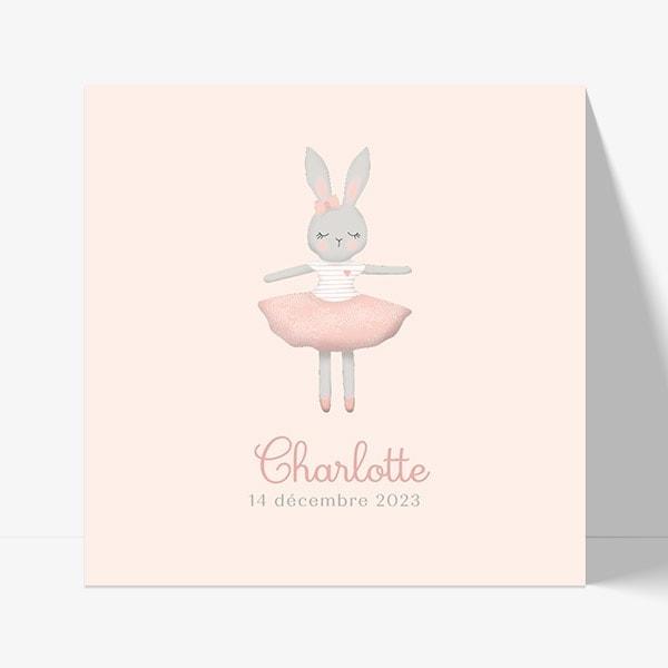 faire part naissance avec dessin de lapin sur fond rose