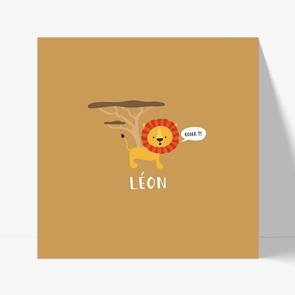faire part naissance avec un dessin de lion