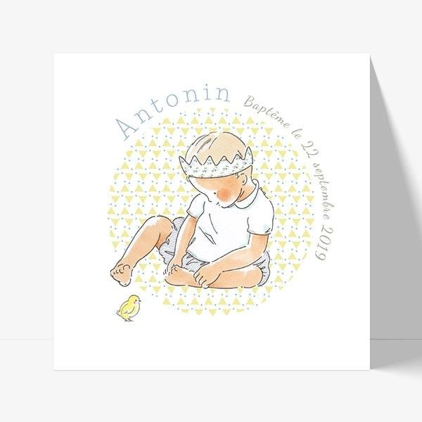 faire part de baptême avec bébé dessiné par by bm