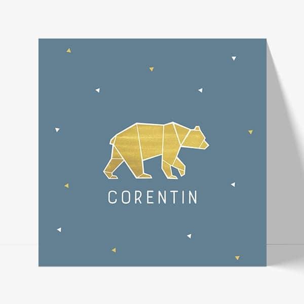 faire-part naissance original et moderne avec un ours