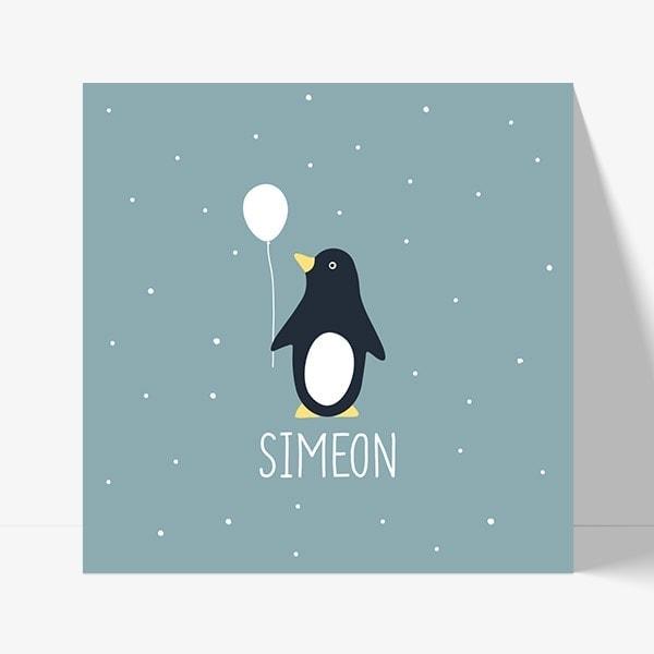 faire part de naissance original avec prénom et pingouin