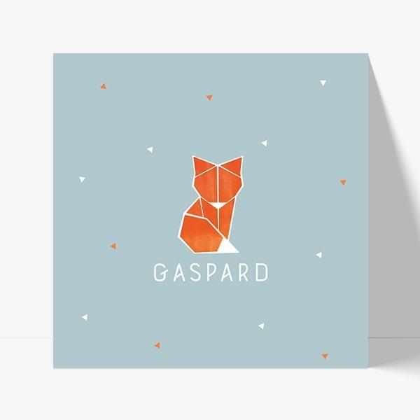 faire part de naissance pour garçon avec renard origami moderne